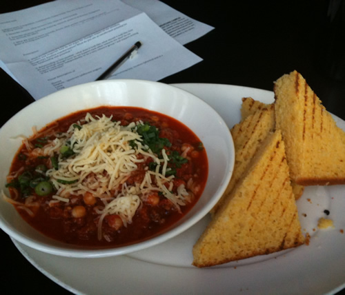 chickpea and chorizo stew with cornbread, at Culina.Par Dr Caso